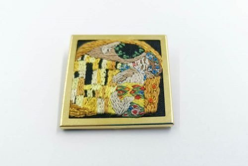 Klimt kiss embroidered brooch