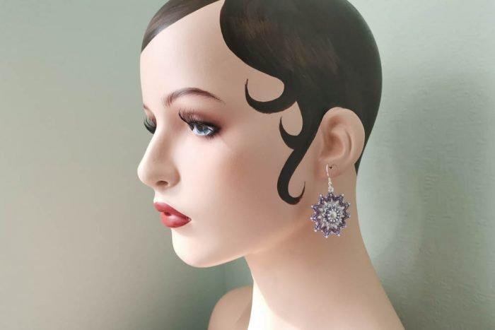 amethyst-bead-flower-earrings