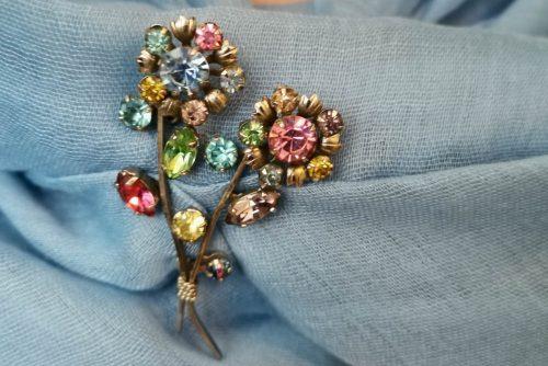 pastel rhinestone brooch