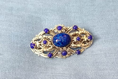 edwardian-lapiz-glass brooch