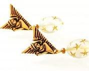 art deco angel earrings