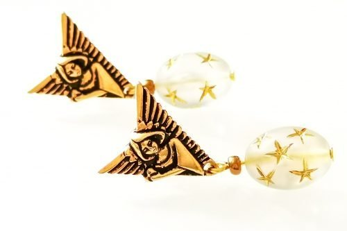 art deco angel earrings