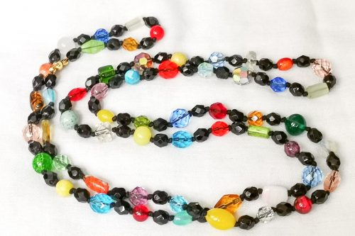 black Czech bead necklace
