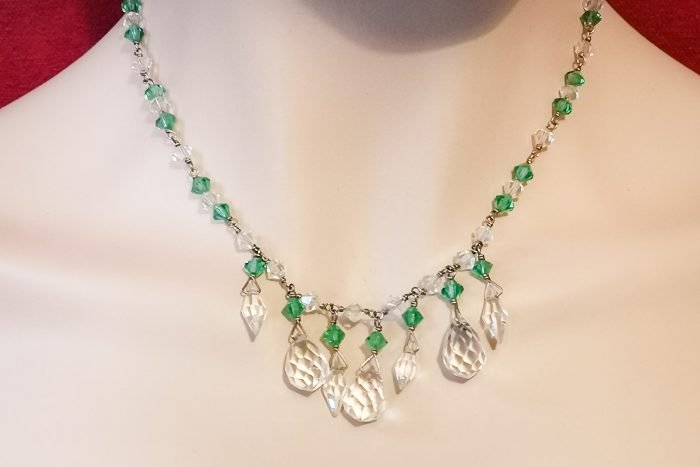 czech green crystal necklace