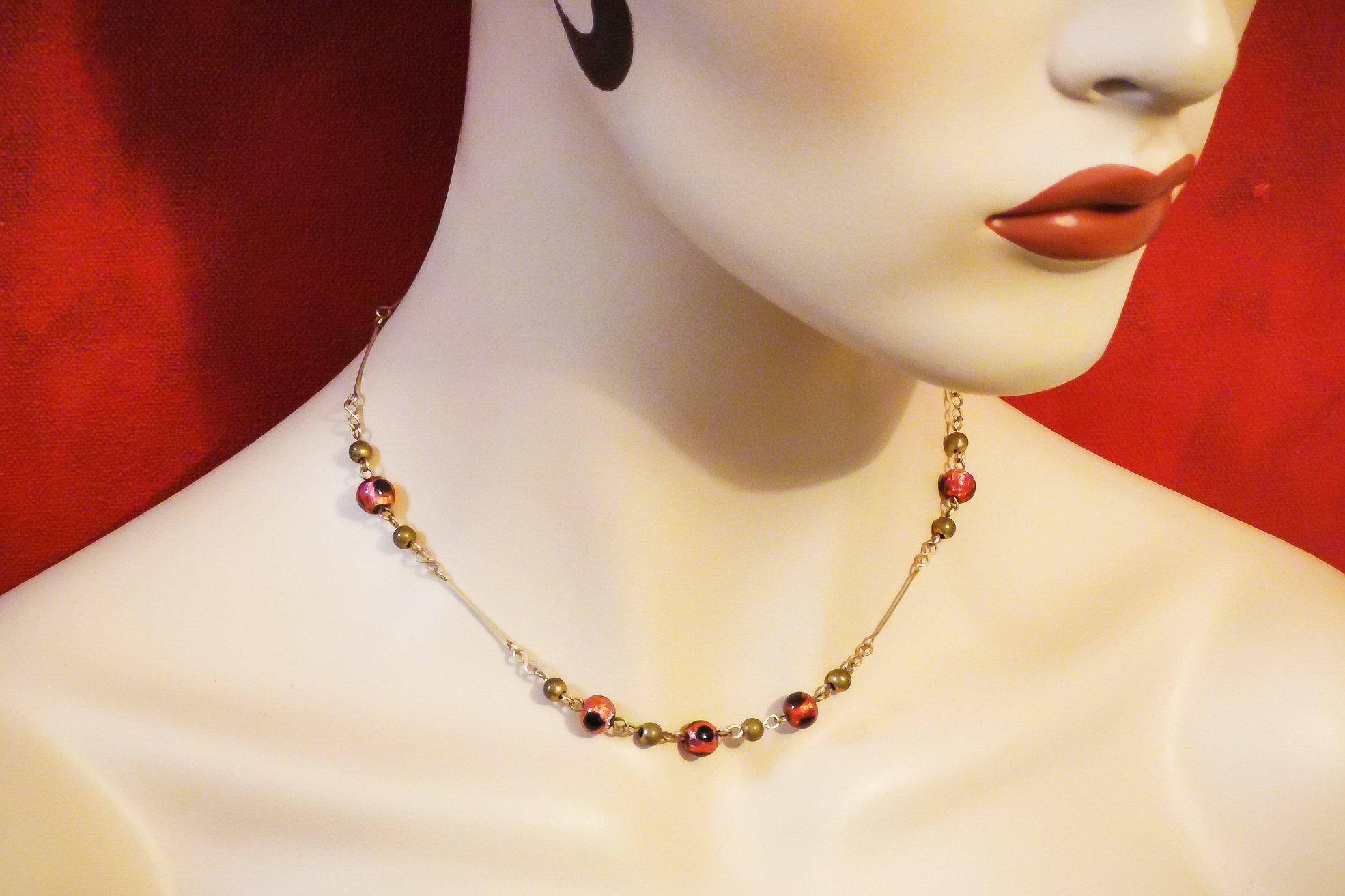 czech foiled glass necklace