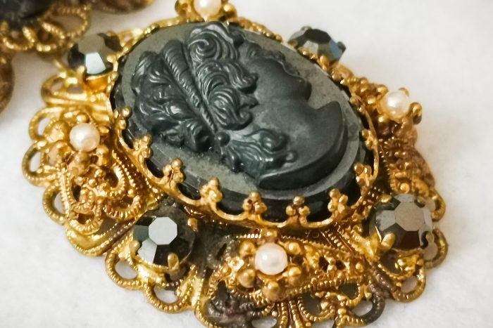 black cameo brooch