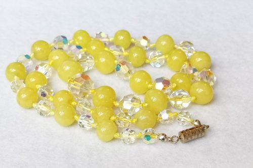 vaseline glass crystal necklace