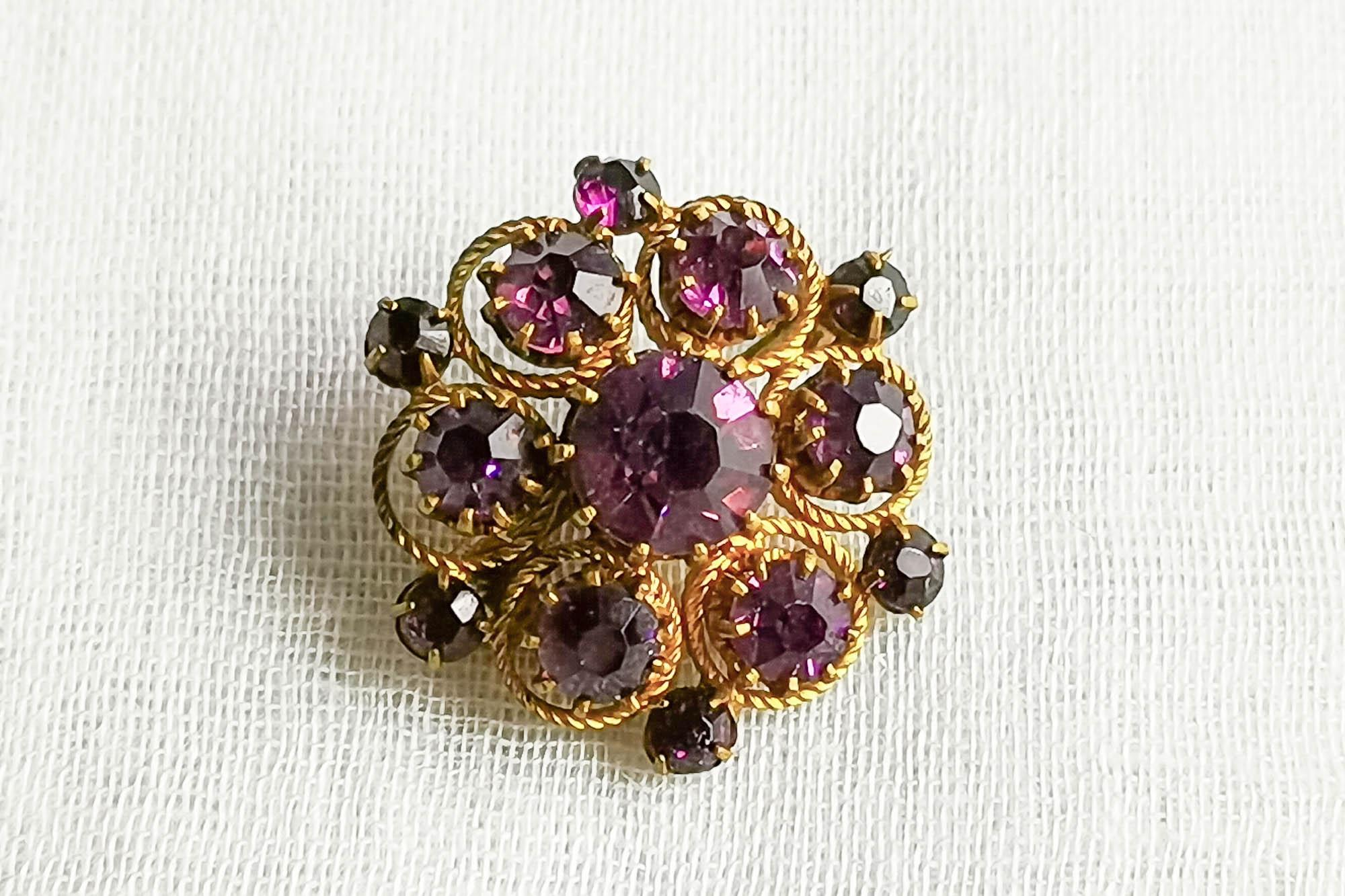 victorian amethyst glass brooch