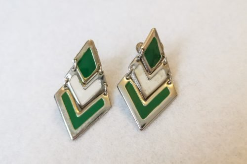green art deco earrings