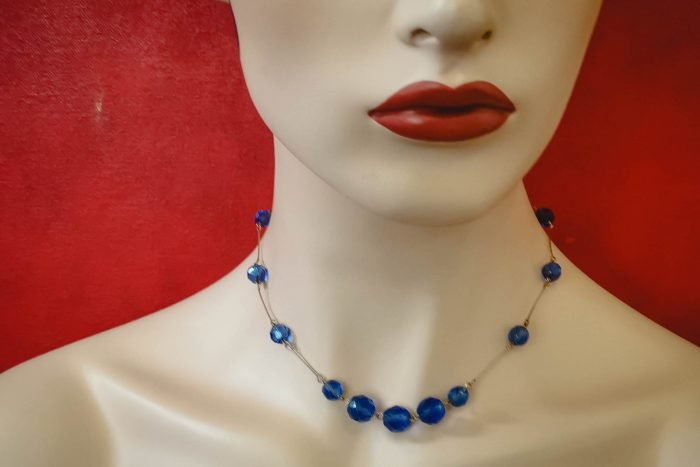 art deco blue necklace