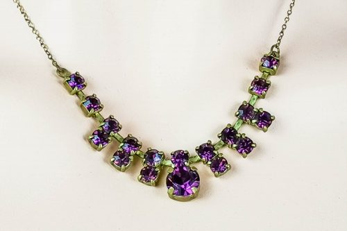 art deco purple-rhinestones choker necklace