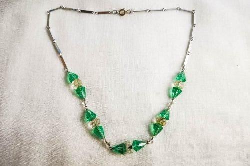 art deco green necklace