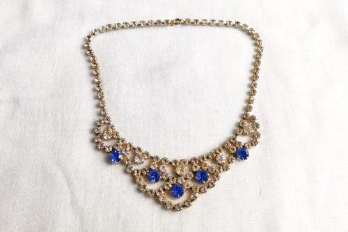 art deco blue rhinestone choker necklace