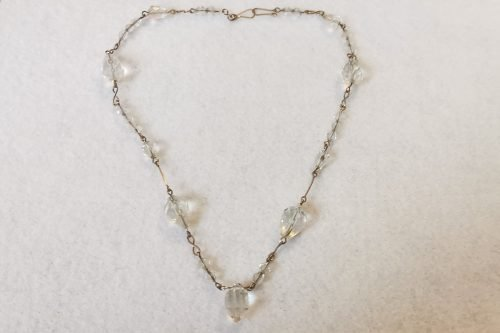 art deco crystal rolled gold necklace