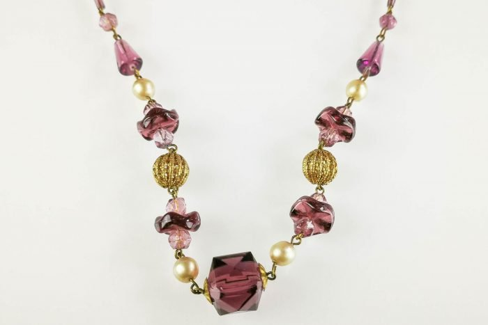art deco amethyst glass necklace
