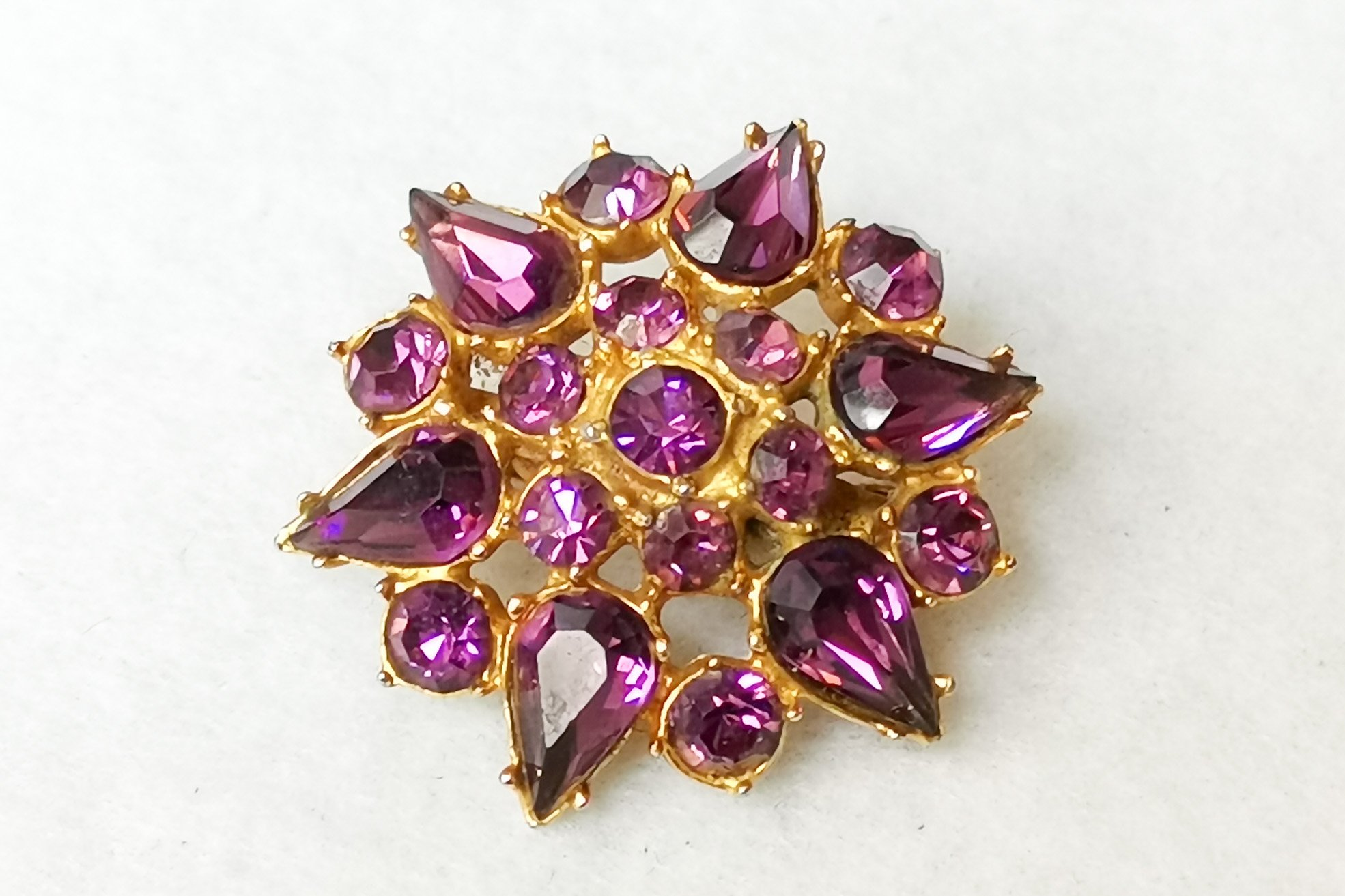 amethyst glass brooch