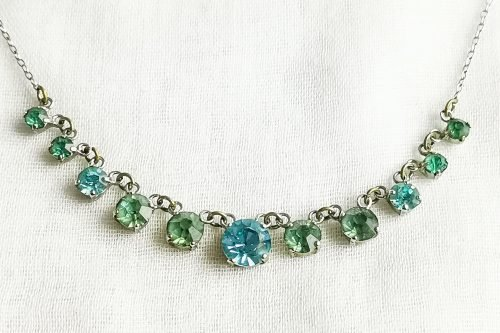 aqua rhinestone choker necklace