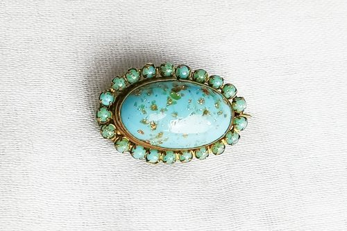 turquoise glass antique victorian brooch
