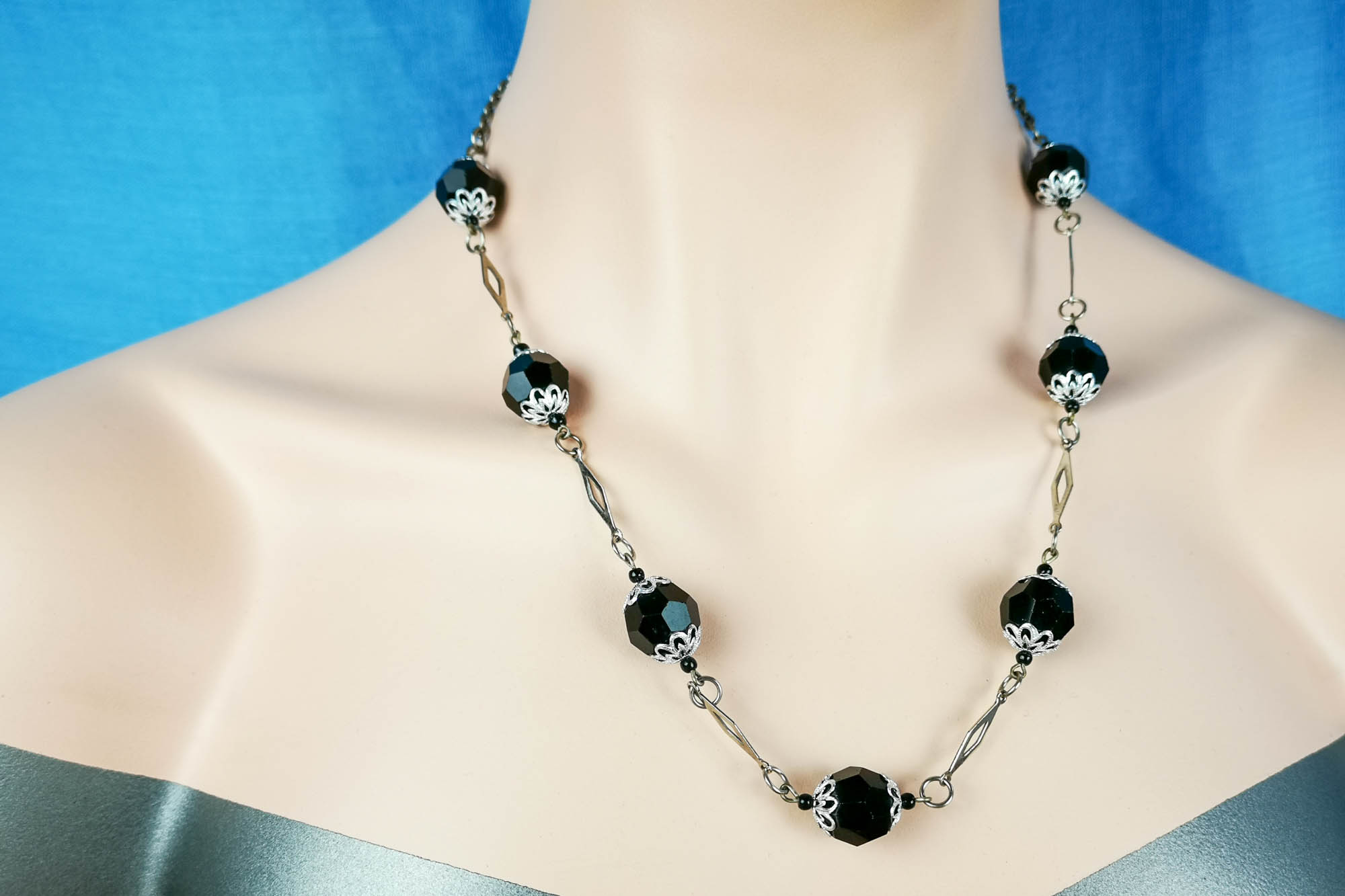 french jet chrome necklace
