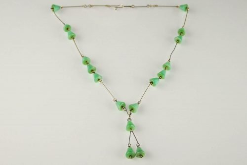 green satin glass necklace