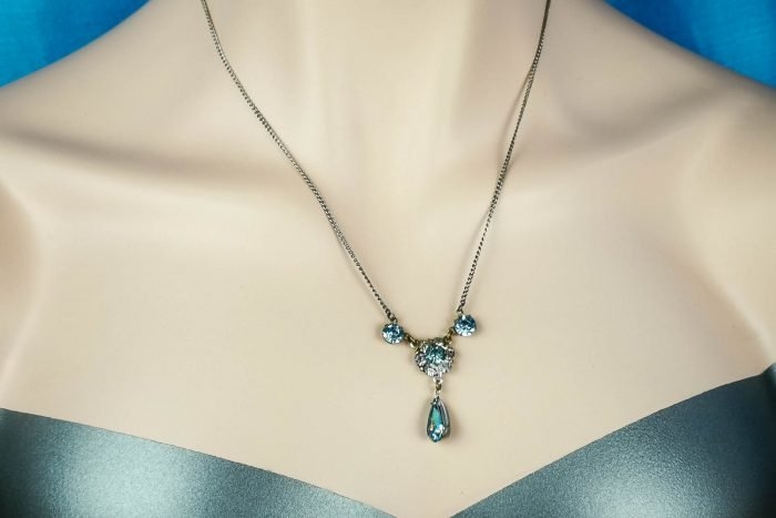 art deco sky blue necklace