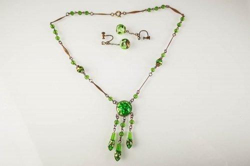 green art deco czech parure