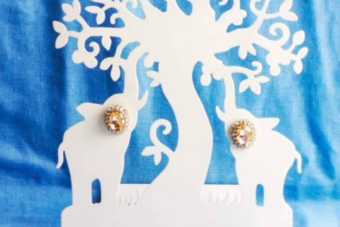 peach rhinestone earrings
