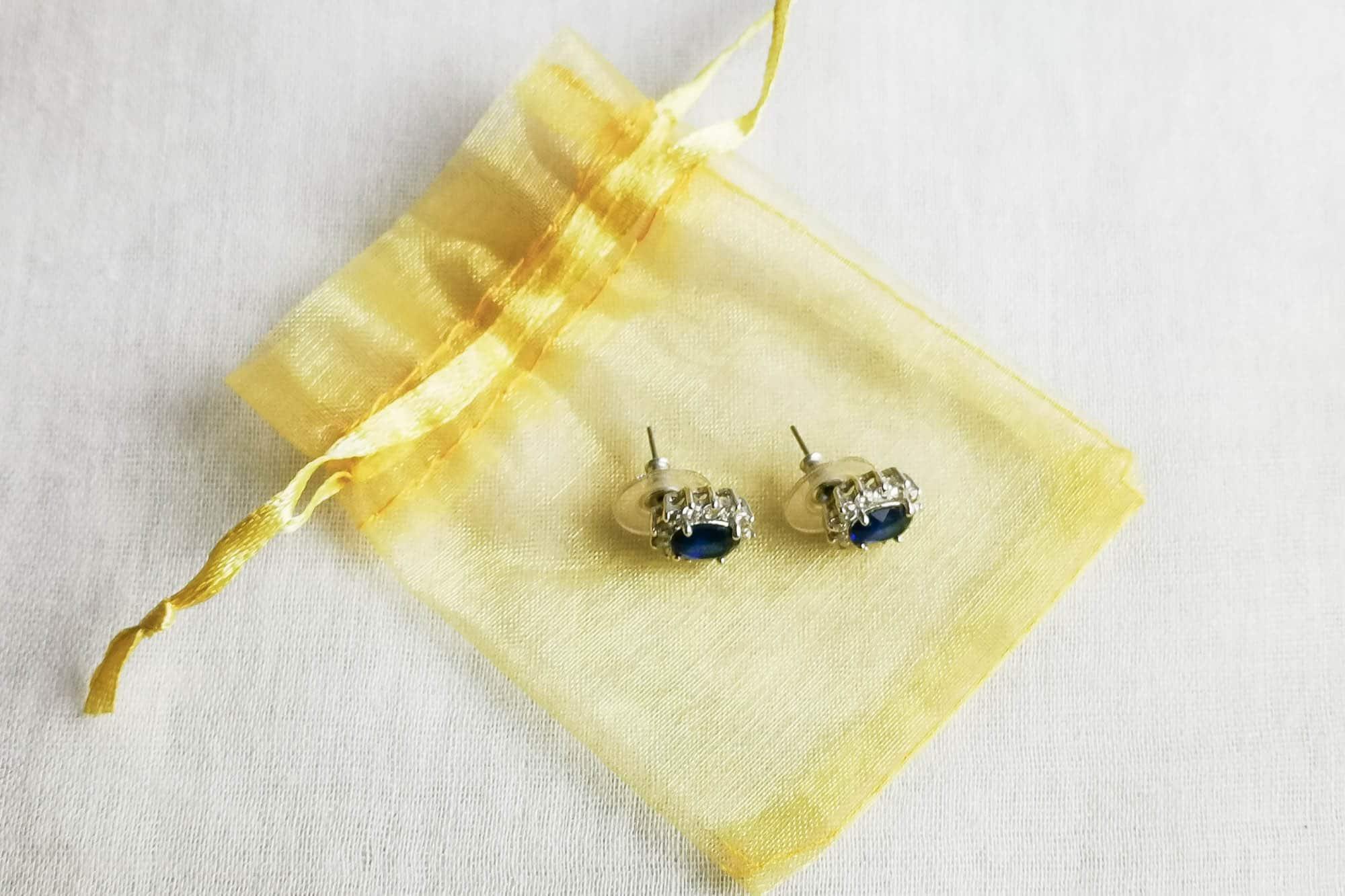 deep blue rhinestone earrings
