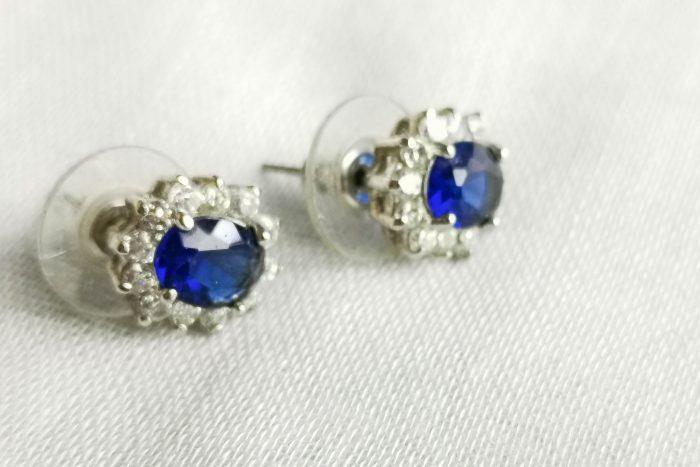 deep small blue rhinestone earrings