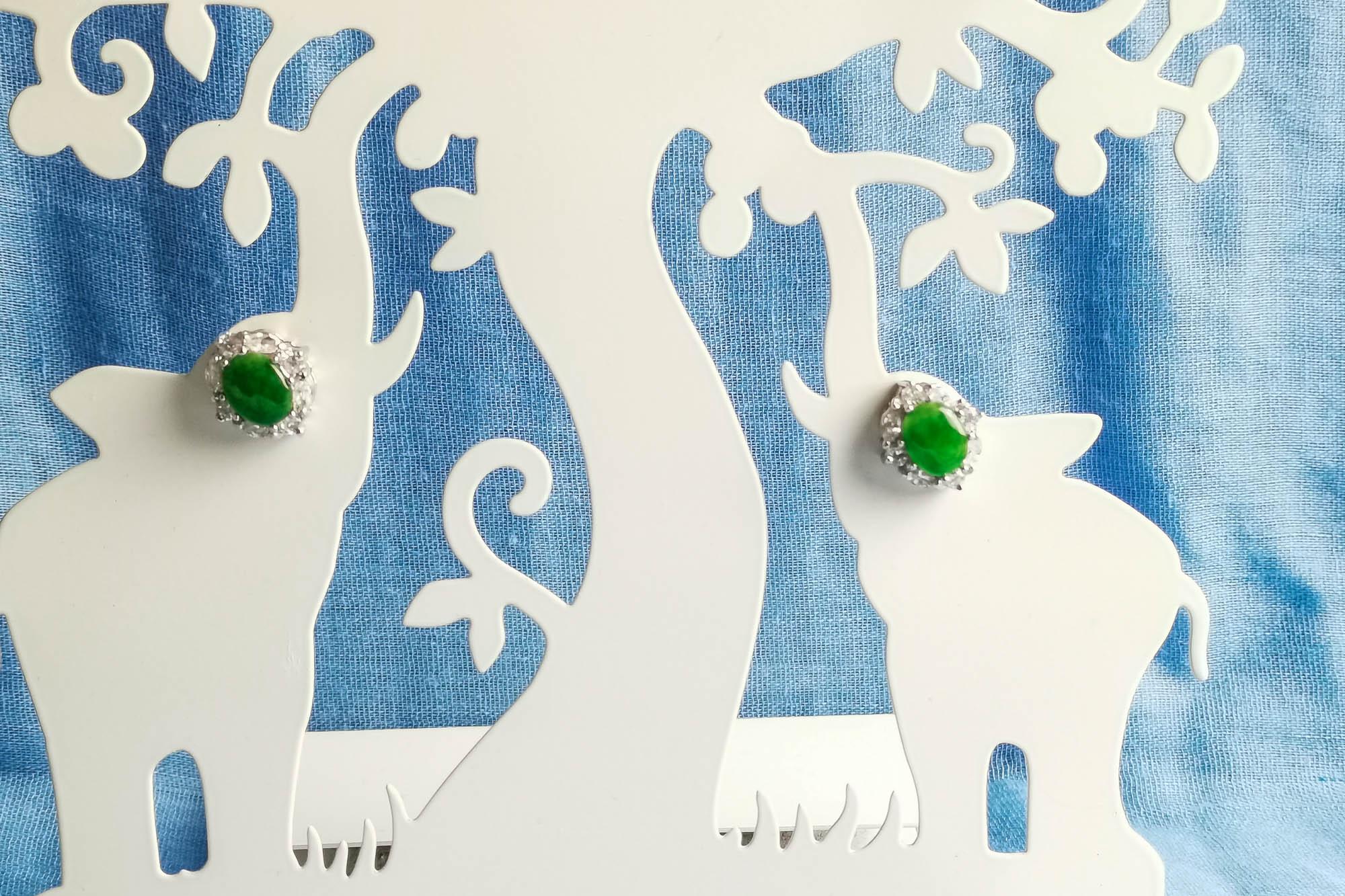 small green rhinestone earrings