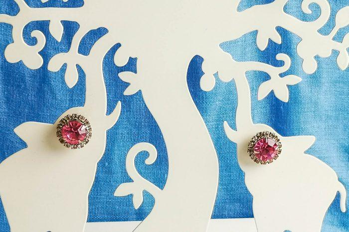 pink rhinestone earrings