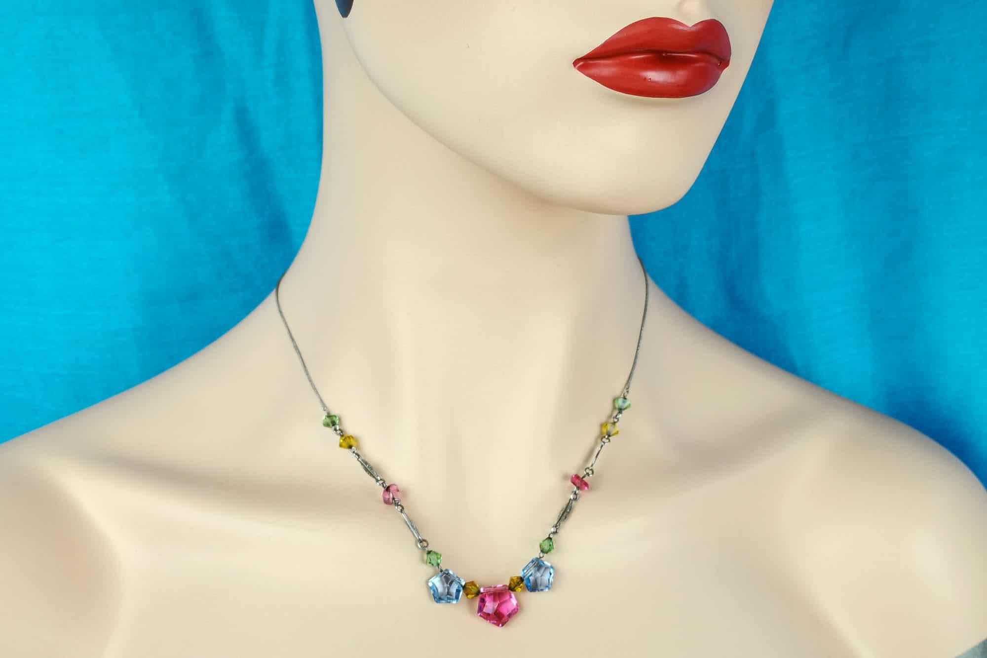 art deco pastel glass necklace