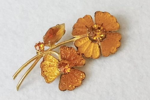 amber glass floral brooch