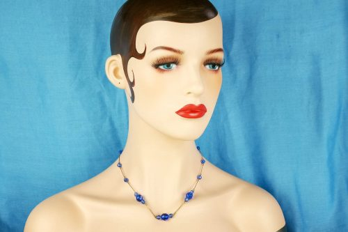 blue rolled gold art deco necklace