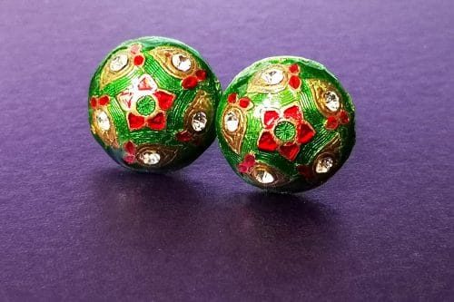 green and red folk style earrings