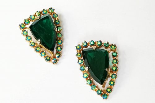 large emerald green glass earrings
